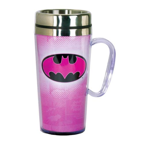 Batman Pink Insulated Travel Mug with Handle