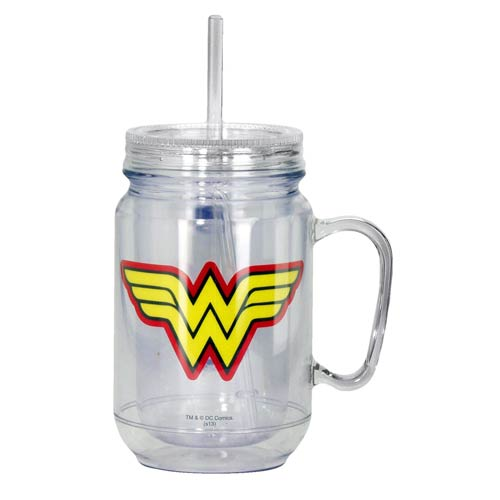 Wonder Woman Clear Mason-Style Plastic Jar with Lid