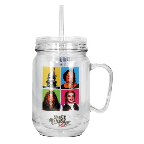 The Wizard of Oz Cast Photo Clear Mason-Style Plastic Jar with Lid and Handle