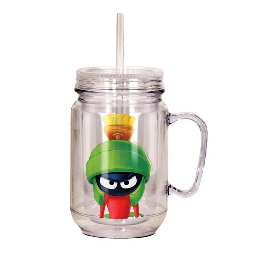 Looney Tunes Marvin the Martian Clear Mason Jar with Lid