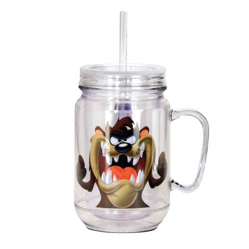 Looney Tunes Tasmanian Devil Clear Mason-Style Jar with Lid