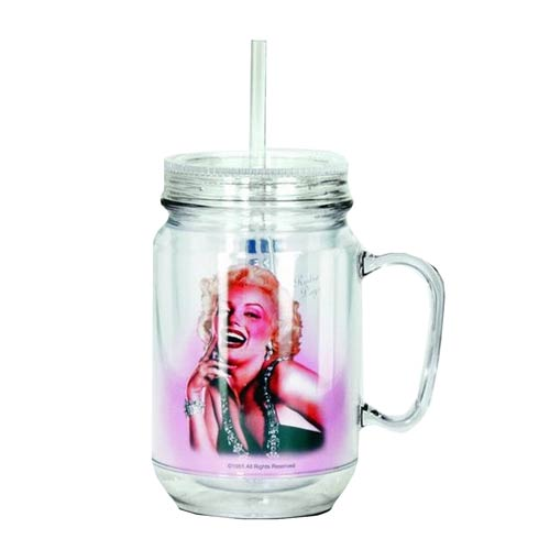 Marilyn Monroe Pose Clear Mason-Style Plastic Jar with Lid