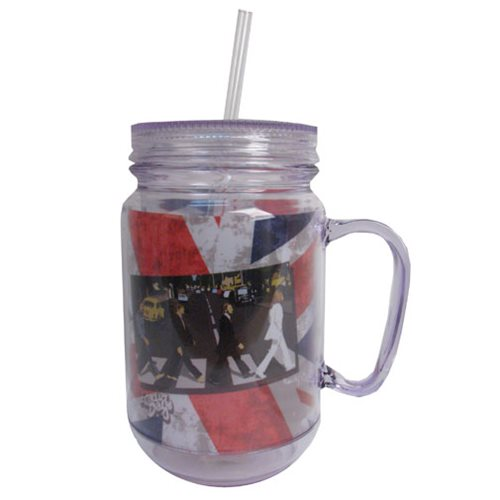 The Beatles Abbey Road Clear Mason-Style Plastic Jar with Lid and Handle