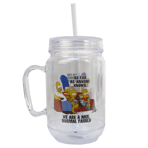 The Simpsons Normal Family 16 oz. Mason-Style Plastic Jar