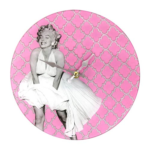 Marilyn Monroe White Dress Pink 10-Inch Glass Clock