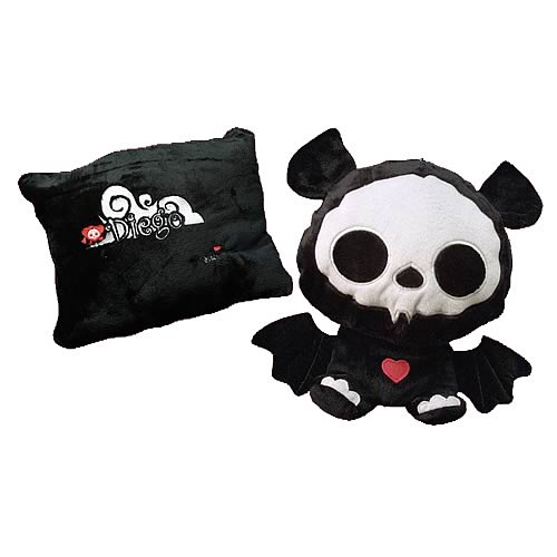 Skelanimals Diego (Bat) Transformable Pillow Plush