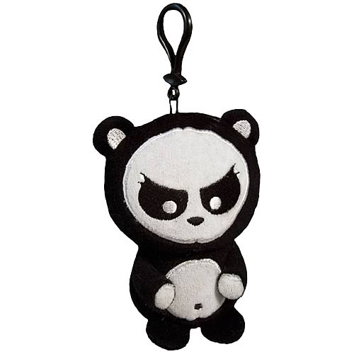 Angry Panda Clip-On Plush Key Chain