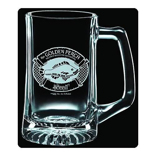The Hobbit Golden Perch Premium Etched Glass Stein