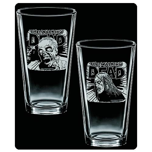 Walking Dead Fresh Meat Rise & Feed Etched Pint Glass 2-Pack