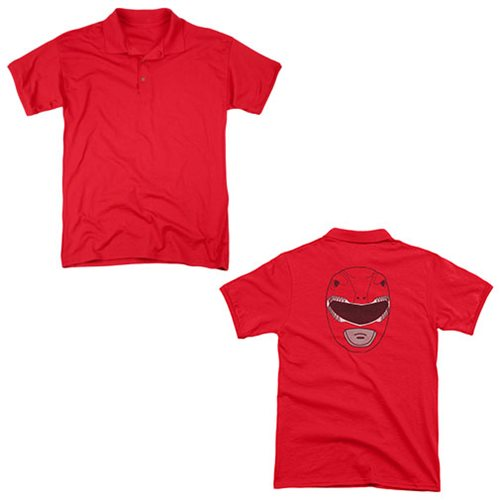 Mighty Morphin Power Rangers Red Ranger Mask Polo T-Shirt