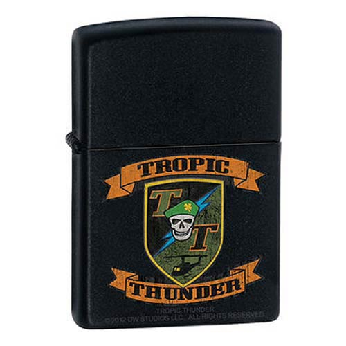 Tropic Thunder Patch Black Matte Zippo Lighter