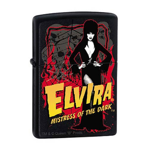Elvira Mistress of the Dark Black Matte Zippo Lighter