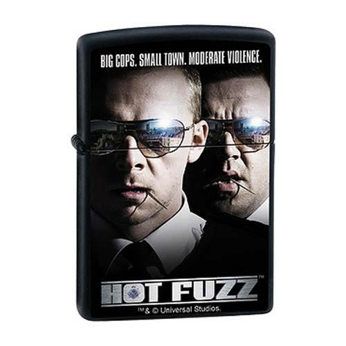 Hot Fuzz Big Cops Small Town Black Matte Zippo Lighter
