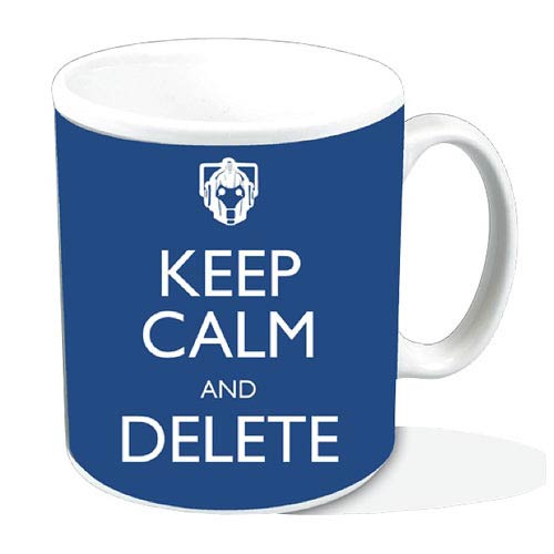Doctor Who Keep Calm and Delete Blue Mug