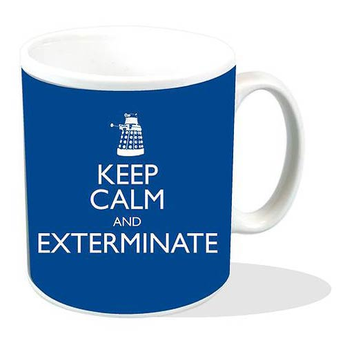 Doctor Who Keep Calm and Exterminate Blue Mug