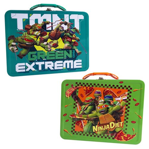 TMNT Large Embossed Carry All Tin Lunch Box Set
