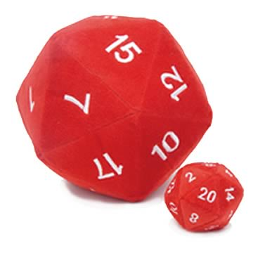 20-Sided Red Fuzzy Dice 8-inch Plush