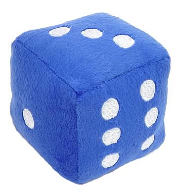 6-Sided Blue Fuzzy Die 3-inch Plush
