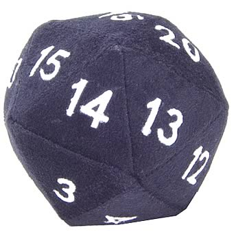 20-Sided Black Fuzzy Dice 4-inch Plush