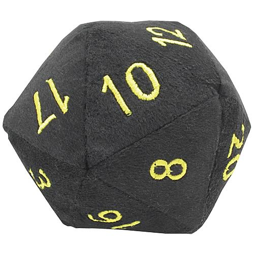 20-Sided Black with Gold Fuzzy Dice 5-inch Plush