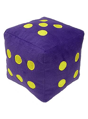 6-Sided Purple Fuzzy Dice 8-inch Plush