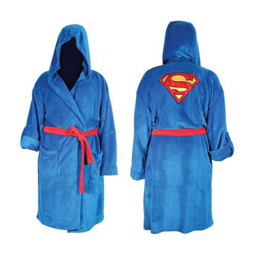 Superman DC Comics Blue Hooded Adjustable Bath Robe