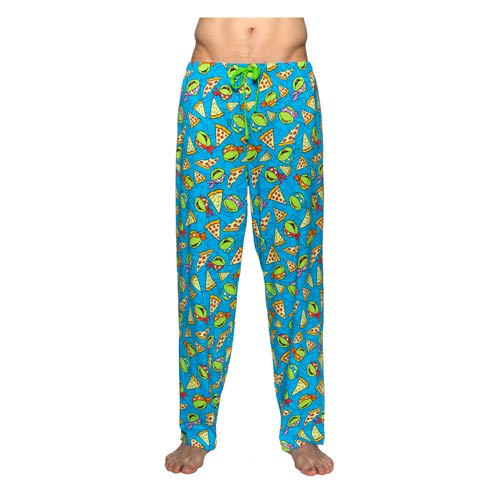 Tmnt Faces And Pizza Blue Pajama Pants