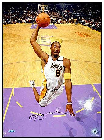 "Kobe Bryant Signed Lakers ""White Jersey"" Photo"
