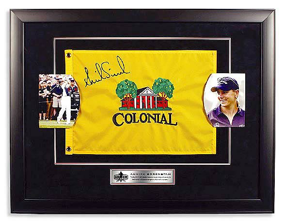 "Annika Sorenstam Signed ""2003 Colonial"" Framed Pin Flag"