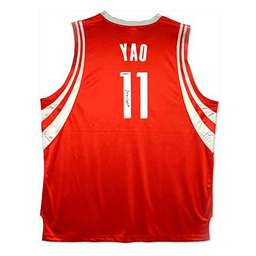 Yao Ming Signed Houston Rockets Away/Red Jersey