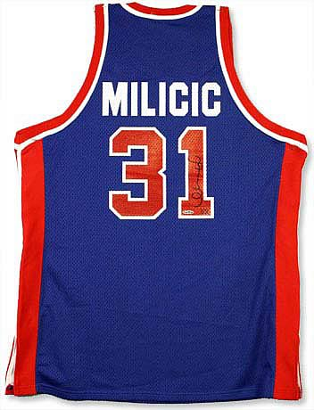 Darko Milicic Signed Pistons Away/Blue Jersey
