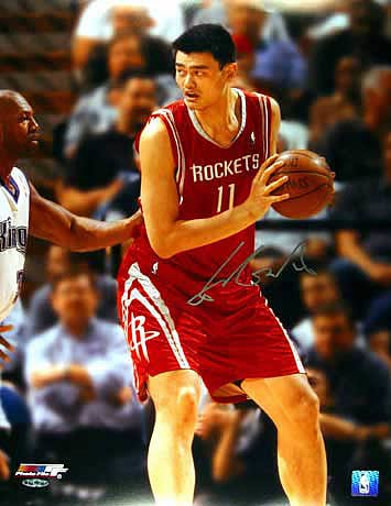 "Yao Ming Signed Houston Rockets ""Post Up"" Photo"