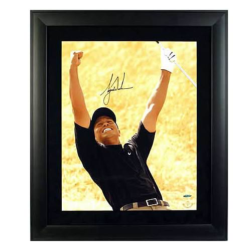 "Tiger Woods Signed ""Yellow Background"" Framed Photo"
