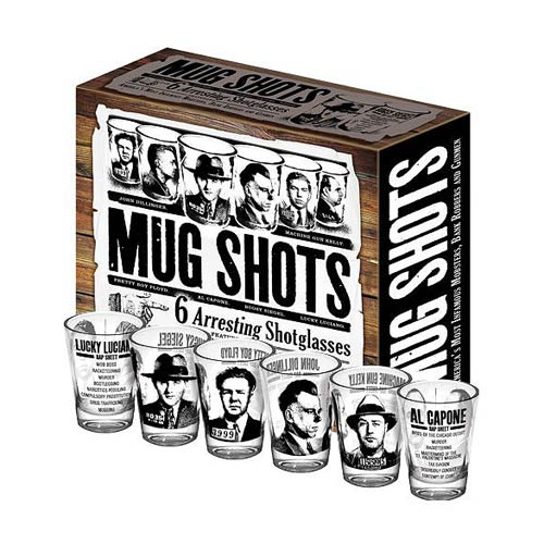 American Gangsters Mug Shots Shot Glasses 6-Pack
