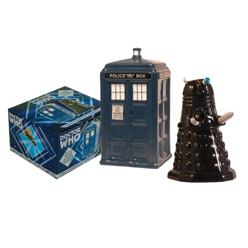Doctor Who TARDIS vs. Dalek Salt and Pepper Shaker Set
