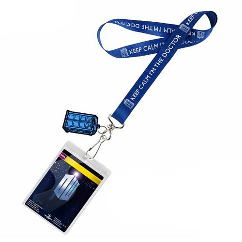 Doctor Who Keep Calm Lanyard with 2D TARDIS Charm