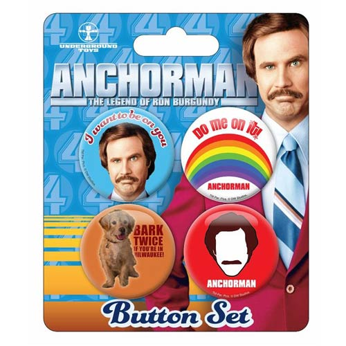 Anchorman The Legend of Ron Burgundy Button 4-Pack