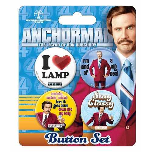 Anchorman The Legend of Ron Burgundy Slogan Buttons 4-Pack