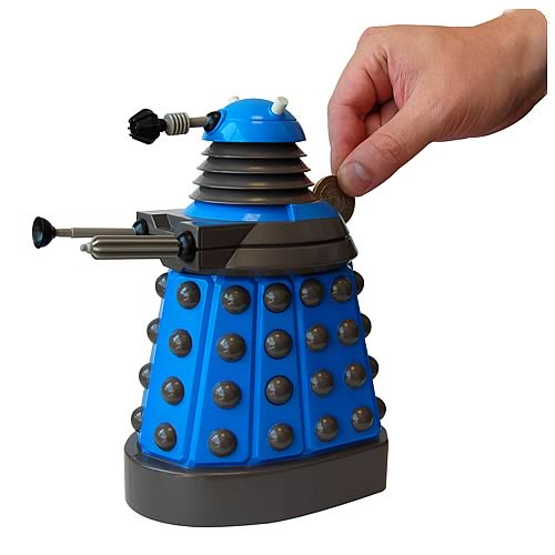 Doctor Who Blue Dalek Molded Money Bank