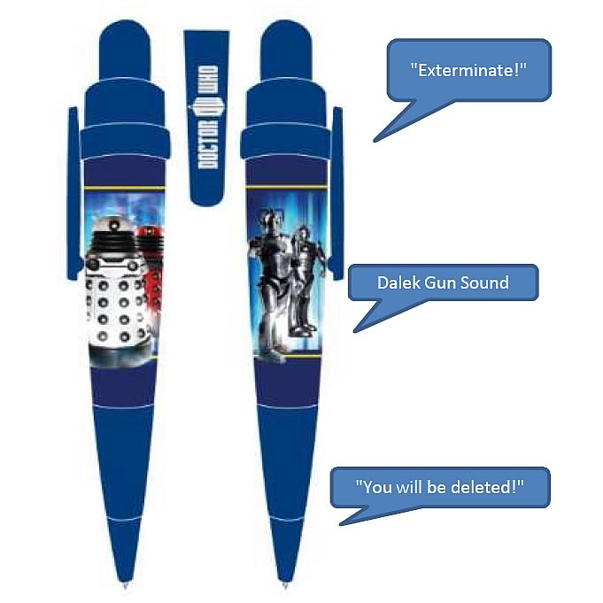 Doctor Who Dalek and Cyberman Talking Pen