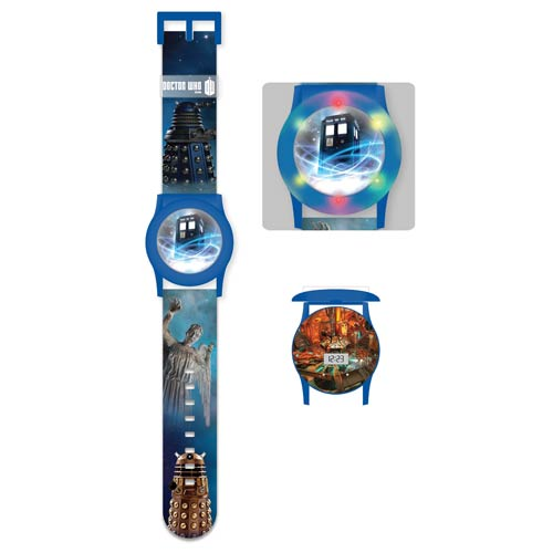 Doctor Who TARDIS Flashing Light-Up Blue Watch