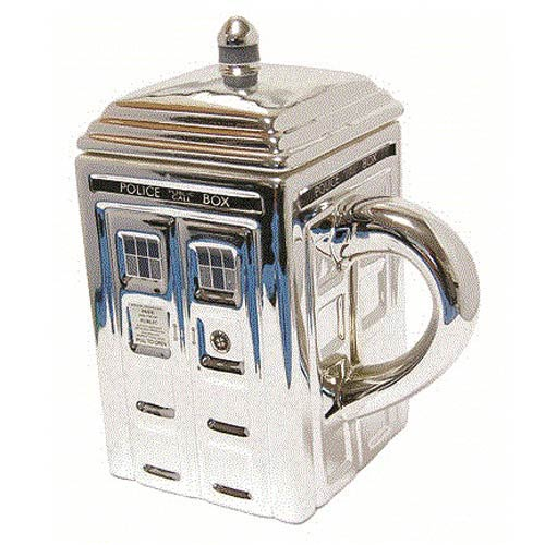 Doctor Who TARDIS 3-D Ceramic Silver Mug