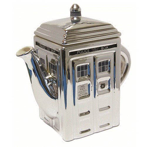 Doctor Who TARDIS 3-D Ceramic Silver Teapot