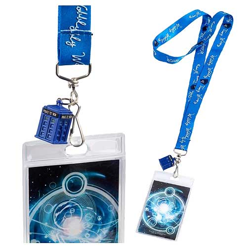 Doctor Who Timey Wimey Blue Lanyard with 3-D TARDIS Charm