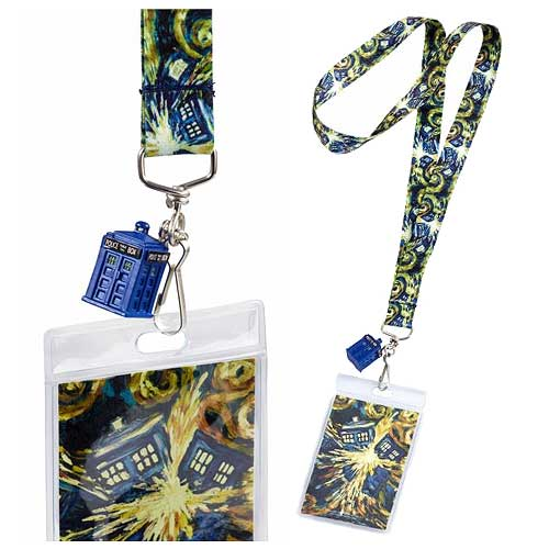 Doctor Who Exploding Van Gogh TARDIS Lanyard with 3-D Charm