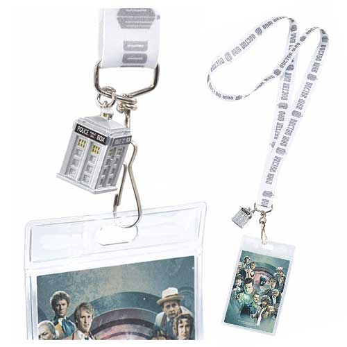 Doctor Who Chrome Logo Lanyard with 3-D Chrome TARDIS Charm