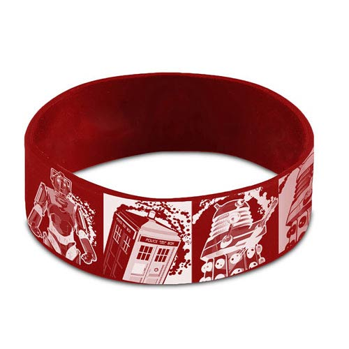 Doctor Who Comic Strip Red Rubber Wristband