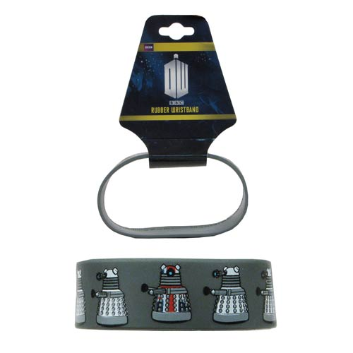 Doctor Who Union Flag Dalek Repeat Gray Rubber Wristband