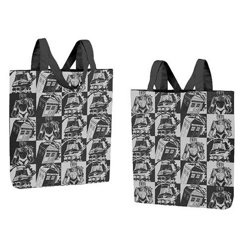 Doctor Who Monochrome Comic Strip Tote Bag