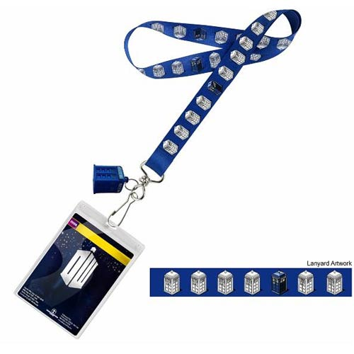 Doctor Who TARDIS Repeat with Lanyard with 3D TARDIS Charm